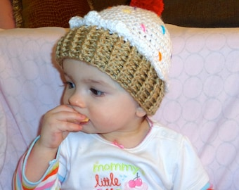 Crochet baby beanie CUPCAKE hat 3 6 month or 6 9 month boy or girl photography photo prop white pink blue yellow purple brown