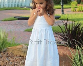 White Linen Halter Dress Sizes 4-8 years-Beach Wedding Flower Girl Dress-Beach Family Photo Dress