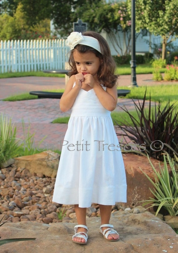 White linen halter dress sizes 4 8 years beach wedding flower for Flower girl dress for beach wedding