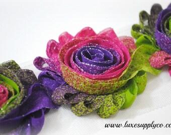 Multi Neon Glitter Chiffon Flower Trim - 1 YARD - Shabby rose trim - Mardi Gras