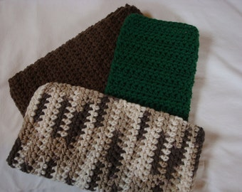 Dishcloths, Cotton, Crochet, Washcloths, Pot Holder, Hot Pad - Pack of 3 in Forest Green, Dark Taupe and Chocolate Ombre