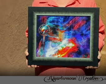 Neon Messiah - Multi-Media Altered Digital Photo - Hand Painted Texture - Framed