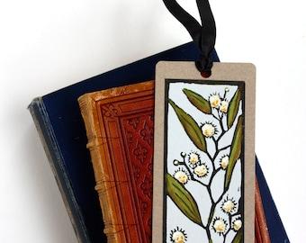 Handpainted Linocut Bookmark - Blackwood - Australian Native Flower