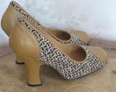 PRADA/ Vintage/1990's PRADA Shoes/ 90's PRADA Yellow Tweed Heels/ Gatsby Style Shoes