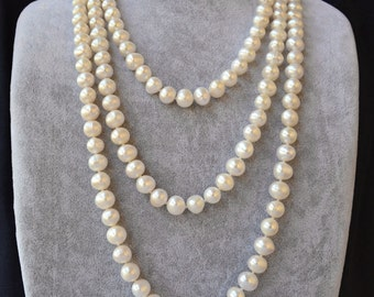 long pearl necklaces,60 inches ivory pearl necklaces,9-10mm freshwater pearl necklaces,pearl,jewelry,wedding necklace,girl friend gift