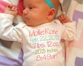 Embroidered birth statistics onesie customized for your newborn
