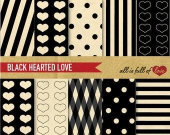 Valentines Digital Paper Pack BLACK HEART Scrapbook Patterns LOVE Printable Background Valentine Paper Anti valentines Vintage