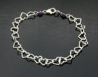 HEART Bracelet, Sterling Silver, Birthstone Bracelet, Love Bracelet.