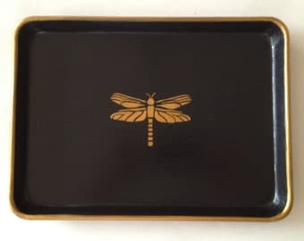 M black tray gold dragonfly