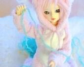 BJD Cute pink kitten PJ kigurumi for MSD / Minifee