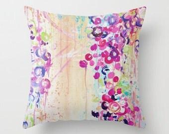 SAKURA Cherry Blossom Art Throw Pillow 16x16 18x18 20x20 Beautiful Whimsical Bubbles Feminine Floral Abstract Art Painting Decor Cushion