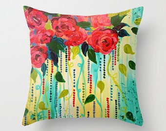 ROSE RAGE Floral Art Pillow 16x16 18x18 20x20 Decorative Art Throw Cushion Cover, Pink Red Turquoise Blue Abstract Floral Bouquet