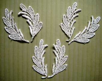 Venice Lace Leaves Appliques, Ivory, x 6, Embellishment For Scrapbook, Mixed Media, Accessories, Decor, Romantic & Victorian Crafts