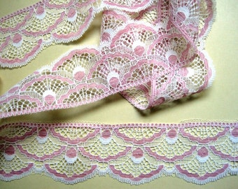 "Scalloped Lace Trim, Pink / Ivory , 2 3/8"" inch wide, 1 Yard, For Victorian & Romantic Projects"