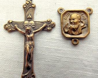 Bronze Padre Pio & Sacred Heart Rosary Set