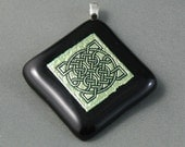 Gold Engraved Dichroic Celtic Knot Pendant 50% off Clearance Sale