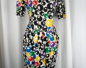 80s Cheeta B MOD POP ART cocktail olive linen dress primary colors hourglass unique Neiman Marcus : sized 6/fits 8