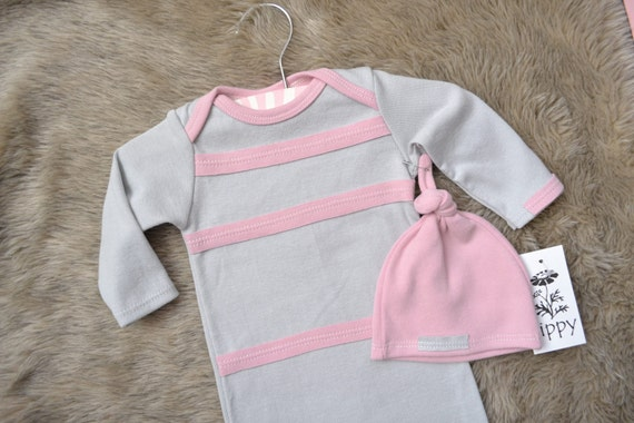 Girl Hospital Outfit for Baby. (size newborn gown and hat) Pink and gray stripe/ modern.  --READY TO SHIP--  (lippybrand)