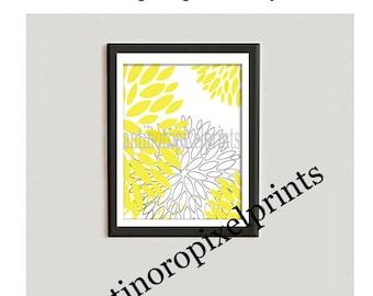 FREE SHIPPING Yellow Floral Art Print Vintage Modern Inspired Art Print  - Yellow  White 8x10 Print (Unframed)