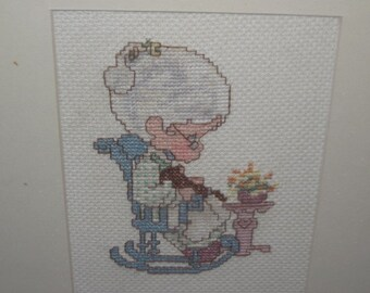 Precious Moments Grandma  doing needle work Picture / Hand Embroidered Wall Hanging