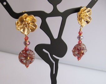 Deep Rose Lampwork Florins on Large Gold Flower Posts