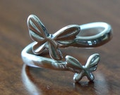 Butterfly Adjustable Ring- Sterling Silver- Little Girl Ring- Daughter Jewelry- Flower Girl Gift- Surrogacy Jewelry- Sister Ring