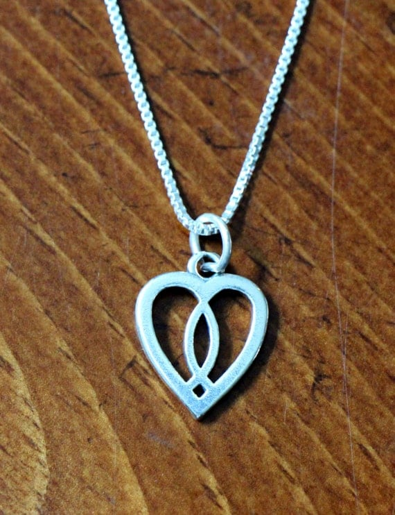 Christian fish sterling silver heart charm necklace jesus for Christian fish necklace