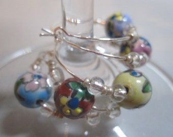 Painted Bead Wine Charms