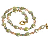 Green freshwater pearl coins, Swarovski crystals combine in a pretty necklace for Spring - CharmedBaublesNBeads
