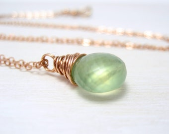 Prehnite Necklace, 14k Rose Gold Filled Apple Green Gemstone Pendant Wire Wrapped Pink Gold Prehnite Jewelry