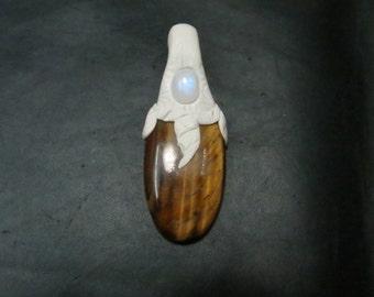 Beautiful Head Work Jewellery Femo Matrial P.O.P Big  Stone Natural Tiger Eye  And Small Size Stone Rainbow Moon Stone