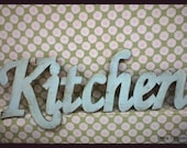 kitchen sign, Vintage style. Rusty light blue