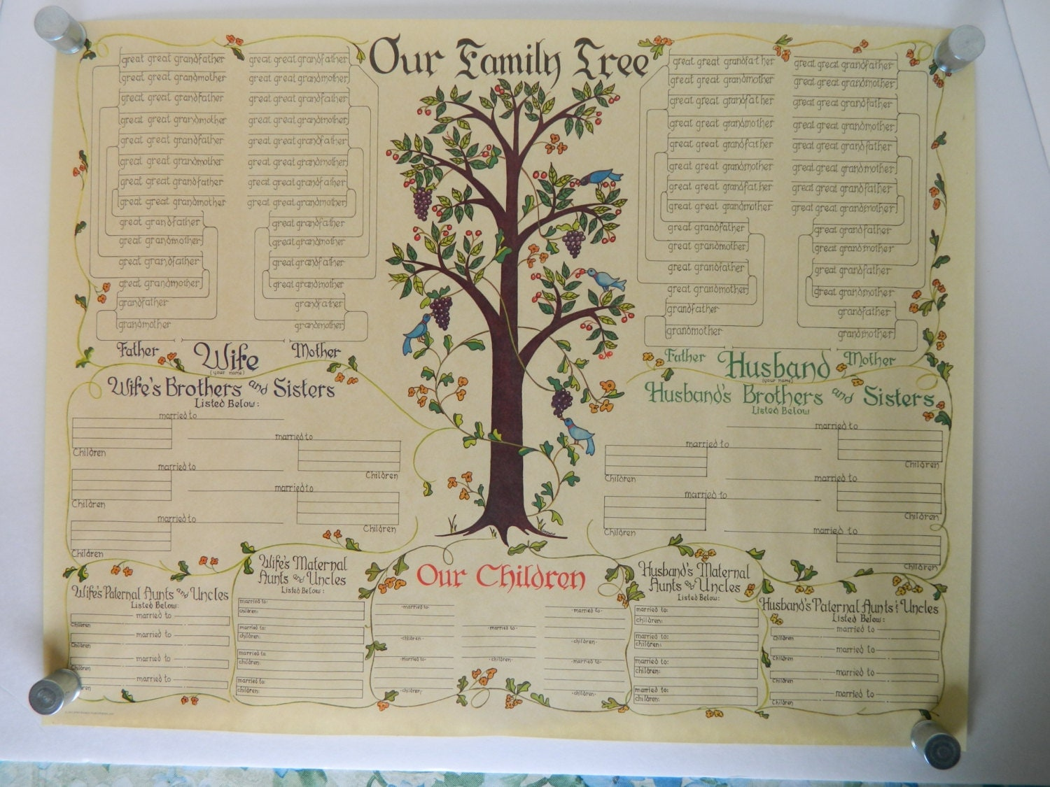 Vintage family tree poster very good condition by