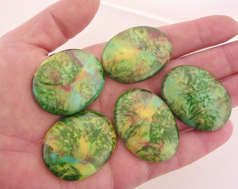 Vintage painted porcelain cabochons green yellow turquoise 30 x 40 cabs CAB020