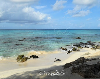 "Caribbean Beach Photography  Aruba  Blue Sky Ocean Seascape Photo ""CARIBBEAN DREAM"""