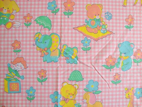 Items similar to vintage 70s cute animal fabric pink for Cute baby fabric prints