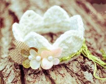 Baby Crown with flowers,Halo Baby Girl Newborn, Spring Photo Prop - Ivory Off white,Lime and Olive Green,Peach- Burlap tiara