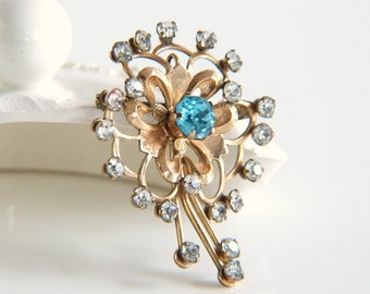 Vintage Vandell 12K Gold Filled Rhinestone and Glass Floral Brooch