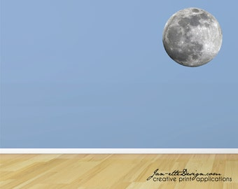 Full Moon Fabric Wall Decal, Moon Wall Sticker, Space Wall Art