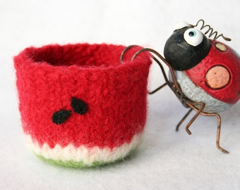 red white green wool felted bowl with watermelon summer fruit cup