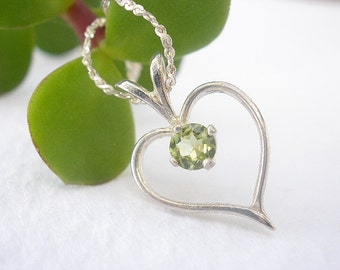 """Natural Gemstone Peridot or Natural Gemstone Amethyst 925 Sterling Silver Heart Pendant With 24"""" 925 Sterling Silver Chain"""