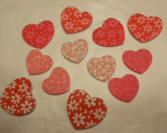12 foam stick on hearts, 23 - 30 mm