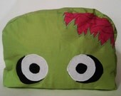 Large Zombie Make up Bag. Green makeup bag. Large makeup bag. Monster makeup bag. Diaper bag. Weekend bag. Overnight bag. Catch all b bag.