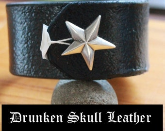 Custom Leather Cuff with Tooled Background and Star Concho Snap