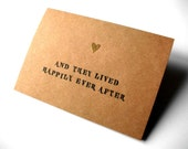 Wedding Card - Card for Bride and Groom - Kraft Card with Embossed Heart Gold - Happily Ever After