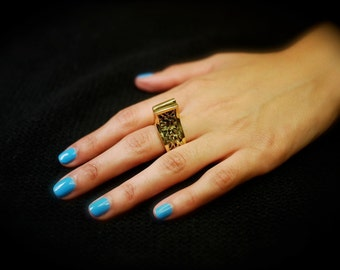 Brass Gold Temple Ring