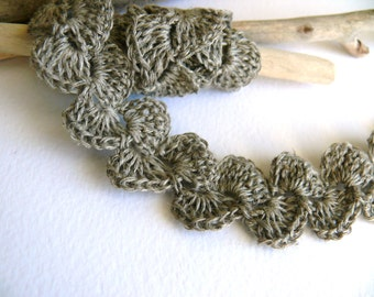 Crocheted Linen Edging, Wedding decor, Lace Trim, Shabby chic Decorations - Natural linen