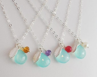 Bridesmaid Necklaces, Aqua Chalcedony Gemstone, Sterling Silver Leaf, Wedding Jewelry, Free Shipping