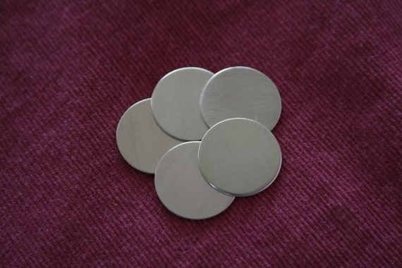 """22 Ga, 7/8"""" (5 pack) Sterling Silver Discs"""