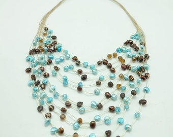 Blue freshwater,crystal multi strand necklace.